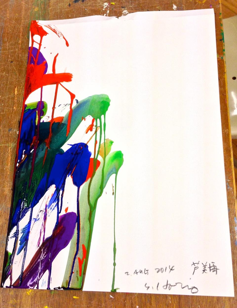 参加者には一枚ずつ作品が渡されます。なんとボクは一番前の絵をいただきました!